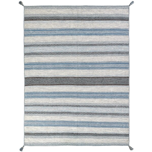 Phillipston Hand-Knotted Cotton Turquoise/Gray Area Rug by Union Rustic