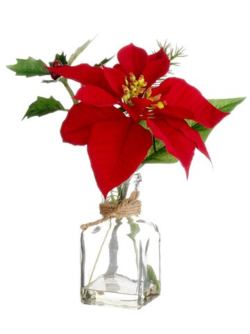 Berry Poinsettia Floral Arrangement in Glass Vase by The Holiday Aisle