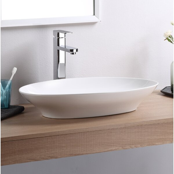 Vitreous China Oval Vessel Bathroom Sink by Fine Fixtures