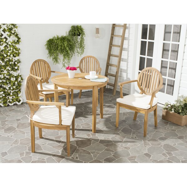 Chilhowee 5 Piece Dining Set with Cushions by Greyleigh