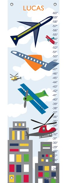Air Transportation - Personalized Canvas Growth Chart by Oopsy Daisy