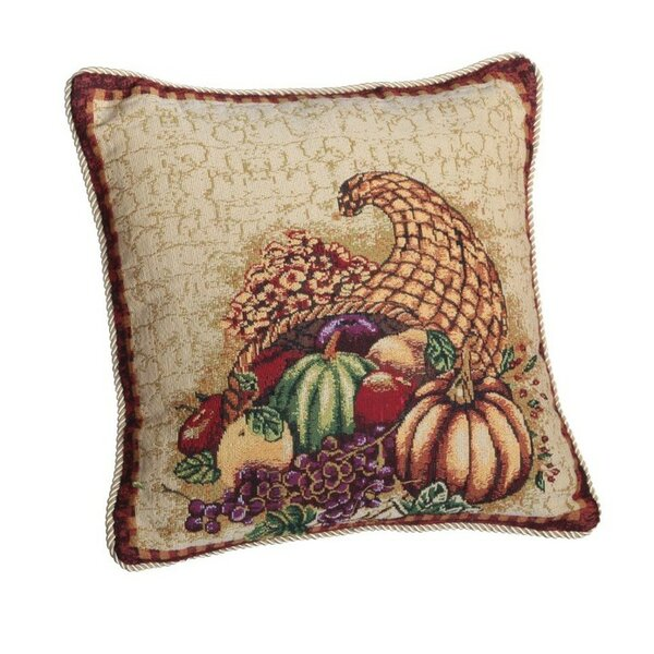 Fall Harvest Cornucopia with Pumpkins and Fruit Pillow Cover by Violet Linen