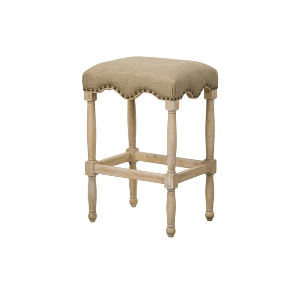 Adalhard 30 Bar Stool with Fabric Upholstered Seat by One Allium Way