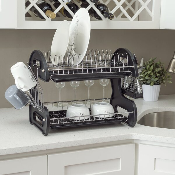 2 Tier Plastic Dish Drainer by Home Basics