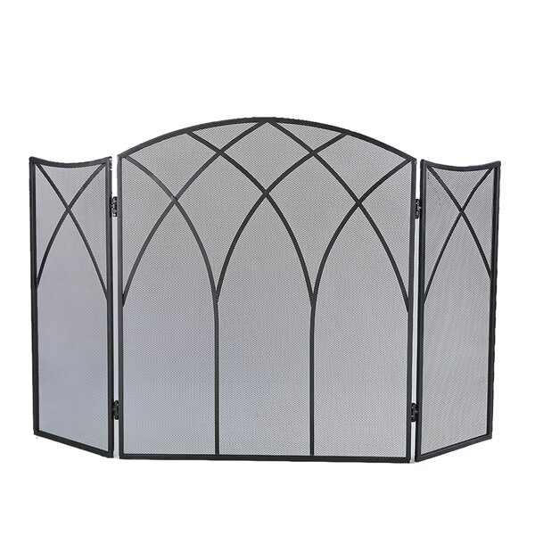 Gothic 3 Panel Steel Fireplace Screen By Pleasant Hearth