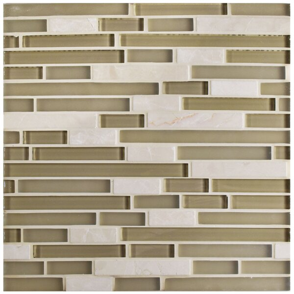 Sierra Random Sized Glass and Natural Stone Mosaic Tile in Sandstone by EliteTile