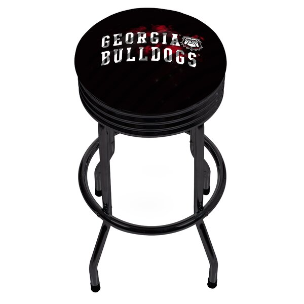 University of Georgia Ribbed 28.5 Swivel Bar Stool by Trademark Global