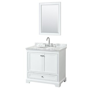 Deborah 36 Single White Bathroom Vanity Set with Mirror By Wyndham Collection