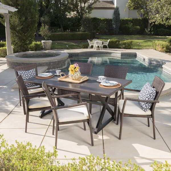 Caressa 7 Piece Dining Set with Cushions by Red Barrel Studio