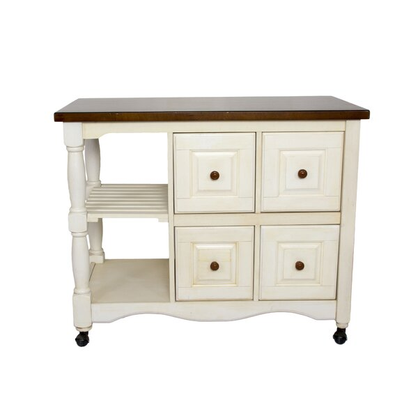 Lockwood 4 Drawer 2 Shelf Kitchen Cart by Loon Peak