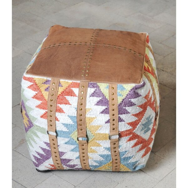 Lesly Leather Upholstered Pouf by Millwood Pines
