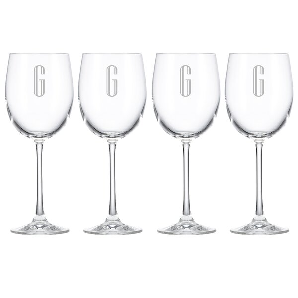 Charcoal Diamond Tuscany Monogram Chardonnay 12 Oz. White Wine Glass (Set of 4) by Lenox