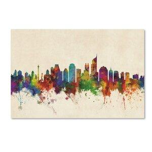 'Jakarta Skyline Indonesia' Graphic Art Print on Canvas by Trademark Fine Art