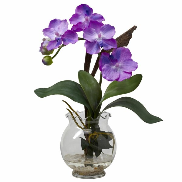 Mini Vanda with Fluted Vase Silk Flower in Purple by Nearly Natural