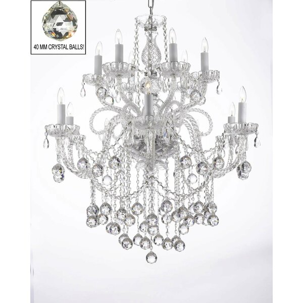 Karr Swarovski 12-Light Candle Style Tiered Chandelier by House of Hampton House of Hampton