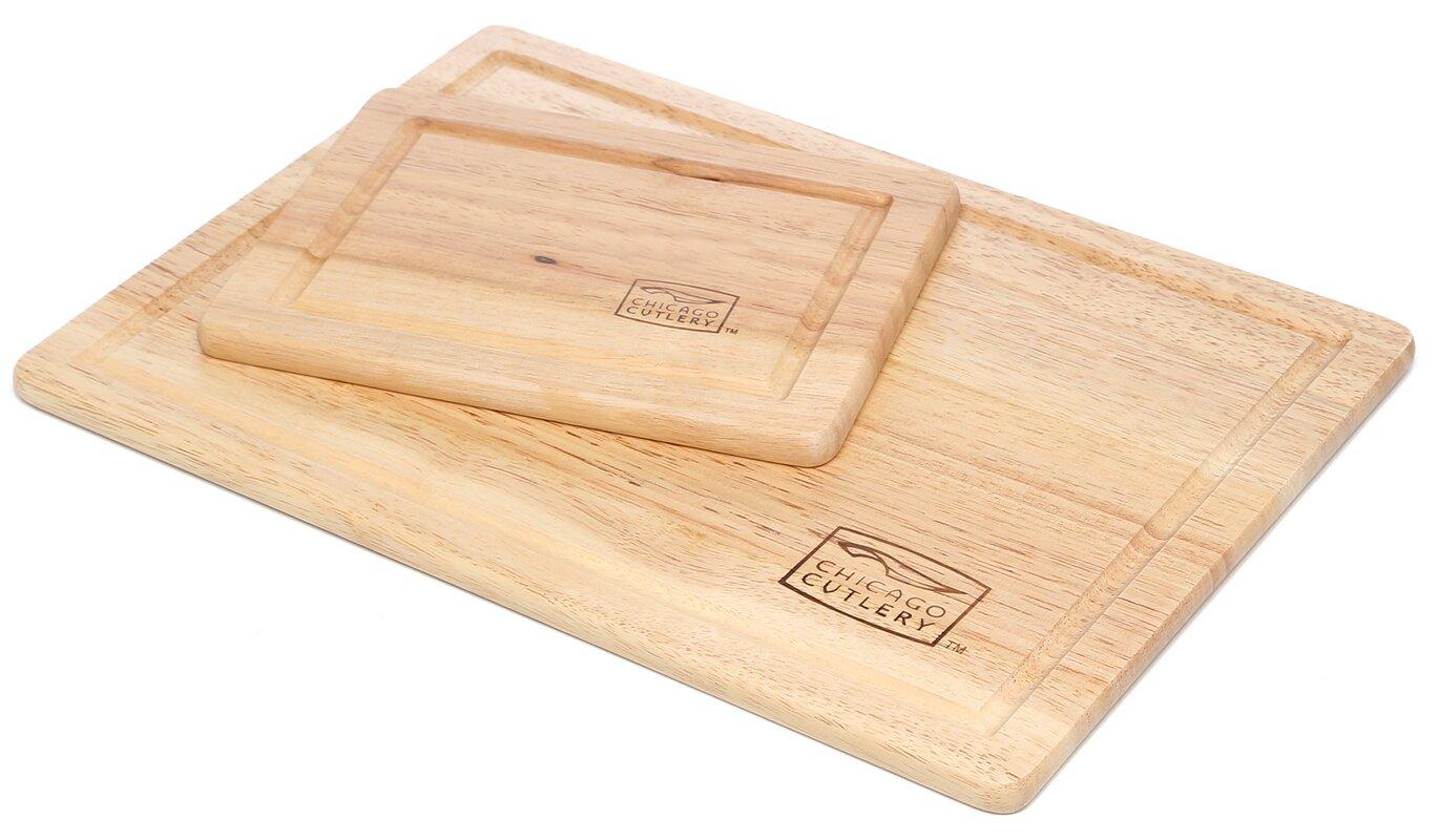Woodworks 2 Piece Rubberwood Cutting Board Set