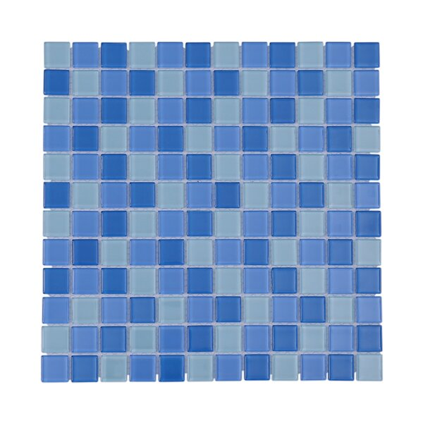 Crystal Pool 1 x 1 Glass Mosaic Tile in Blue/White by Vetromani