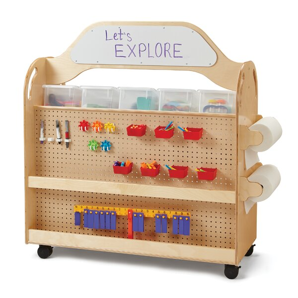 Steam Multimedia Double Sided 3 Compartment Teaching Cart with Casters by Jonti-Craft