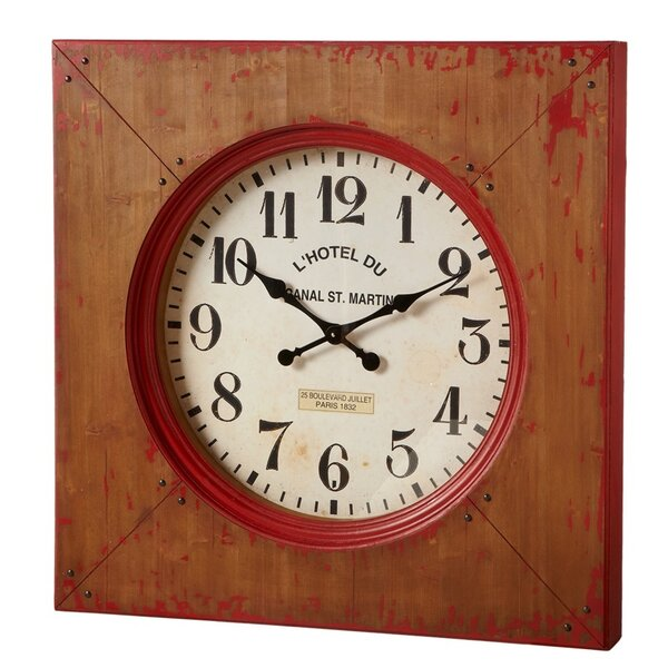 Square Brown and Black Farmhouse Wall Clock by August Grove