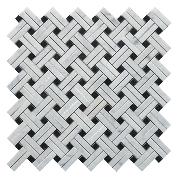Knot Net Random Sized Marble Mosaic Tile in White/Black by Matrix Stone USA