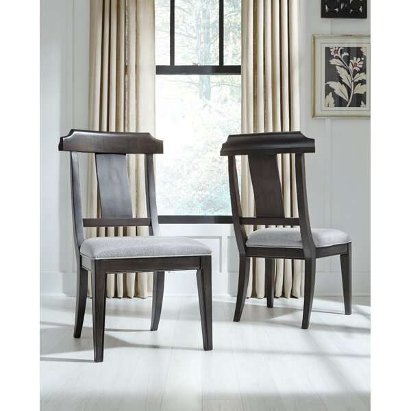 Earley Upholstered Slat Back Side Chair in Brown (Set of 2) by Darby Home Co Darby Home Co