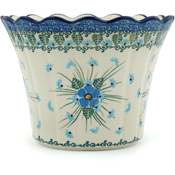 Forget Me Not Polish Pottery Pot Planter by Polmedia