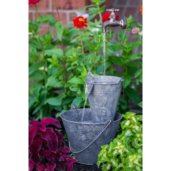 Metal Pails Tap Fountain with LED Light by Hi-Line Gift Ltd.