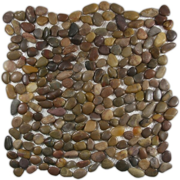 Yalong Random Sized Natural Stone Mosaic Tile in Brown/Green by CNK Tile