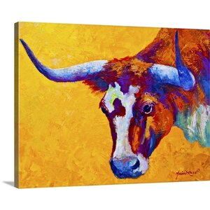 Longhorn Portrait by Marion Rose Painting Print on Wrapped Canvas by Great Big Canvas
