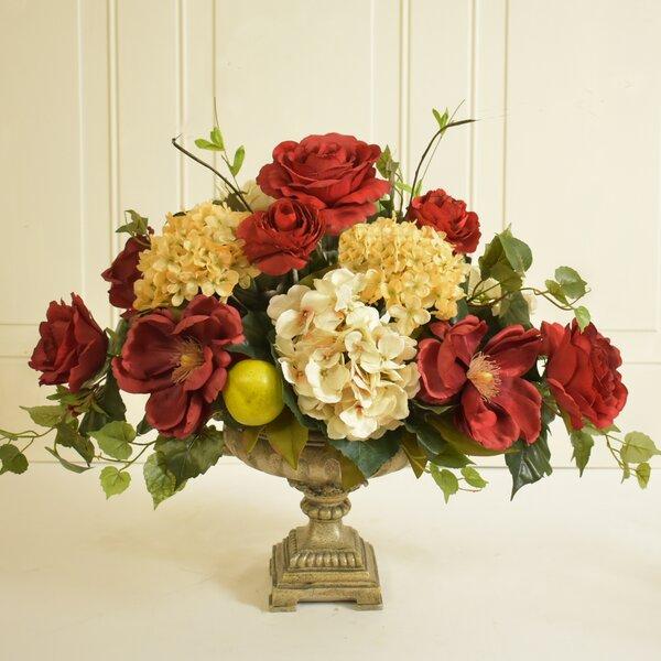 Elegant Silk Rose and Hydrangea Floral Arrangement in Decorative Vase by Canora Grey