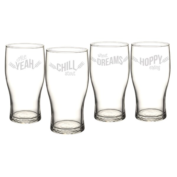 19 Oz. Beer Pun Pilsner Glass (Set of 4) by Cathys Concepts