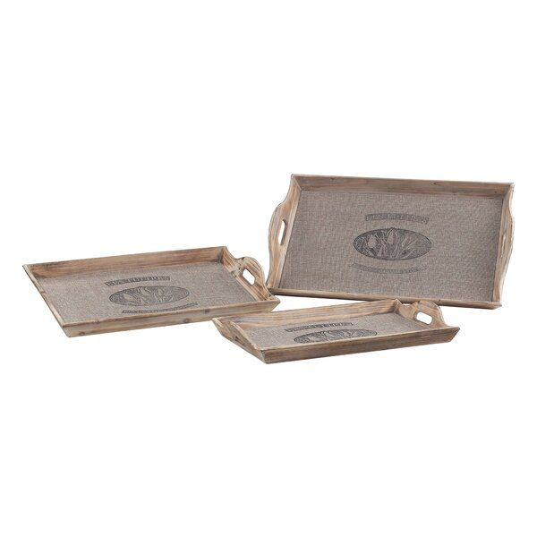 Kellerman 3 Piece Les Tulips Linen Covered Serving Tray Set by Ophelia & Co.