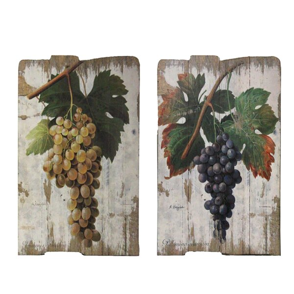 Vintage Vineyard 2 Piece Painting Print on Plaque Set by Urban Designs