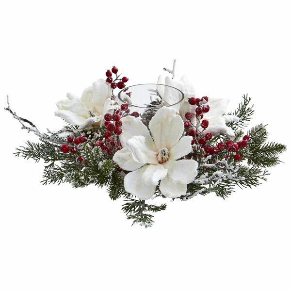 Frosted Magnolia & Berry Candelabrum by The Holiday Aisle