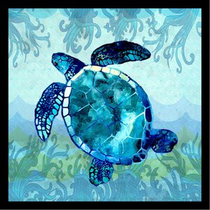'Waves Sea Turtle Poster' by Jill Meyer Framed Graphic Art by Buy Art For Less