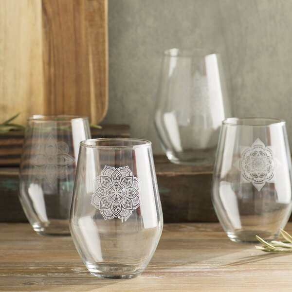 Leandra 19 oz. Stemless Wine Glass (Set of 4) by Bungalow Rose