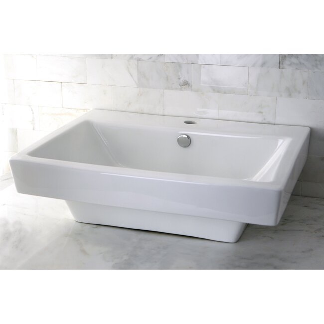 "kingston brass plaza 24"" wall mount bathroom sink with overflow"
