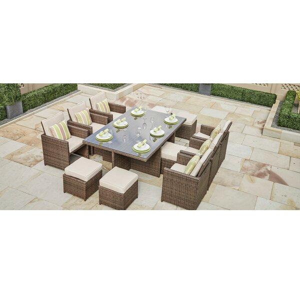 Frederica 11 Piece Dining Set with Cushions Bayou Breeze BBZE3031