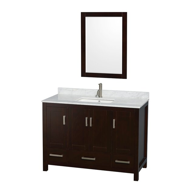 Sheffield 48 Single Espresso Bathroom Vanity Set with Mirror by Wyndham Collection