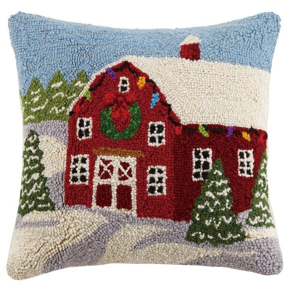 Winter Barn Hook Wool Throw Pillow by Peking Handicraft