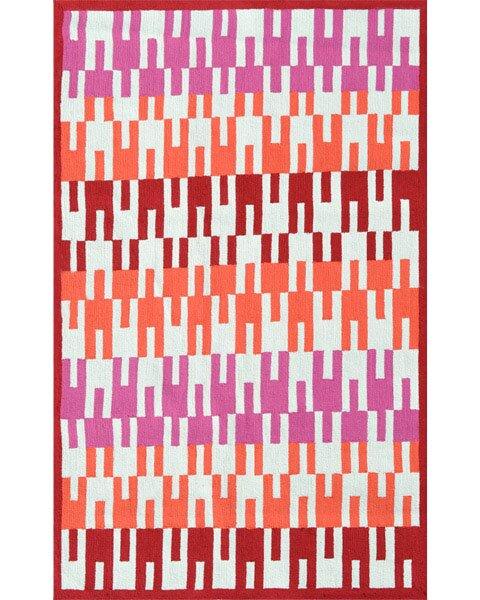 Deanna Hand-Hooked Red Indoor/Outdoor Area Rug by Threadbind
