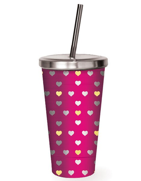 Artemis Gold Hearts Stainless Steel 16 oz. Insulated Tumbler by Latitude Run