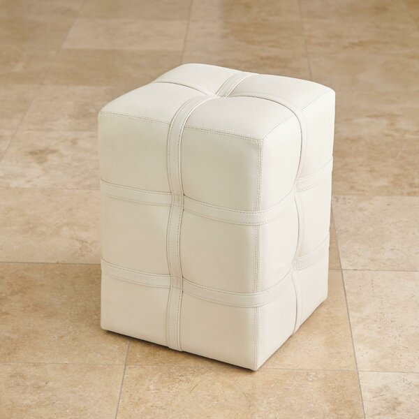 Belted Poof-Light Marbled Leather Pouf By Global Views
