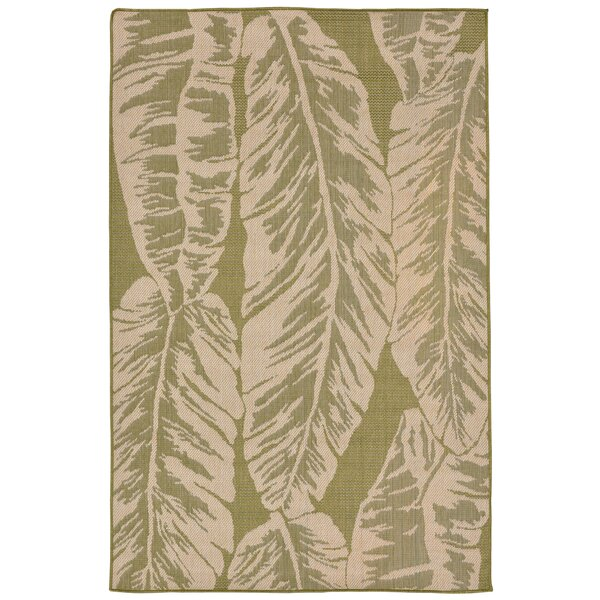 Lambert Banana Leaf Power Loom Green Indoor/Outdoor Area Rug by Bay Isle Home
