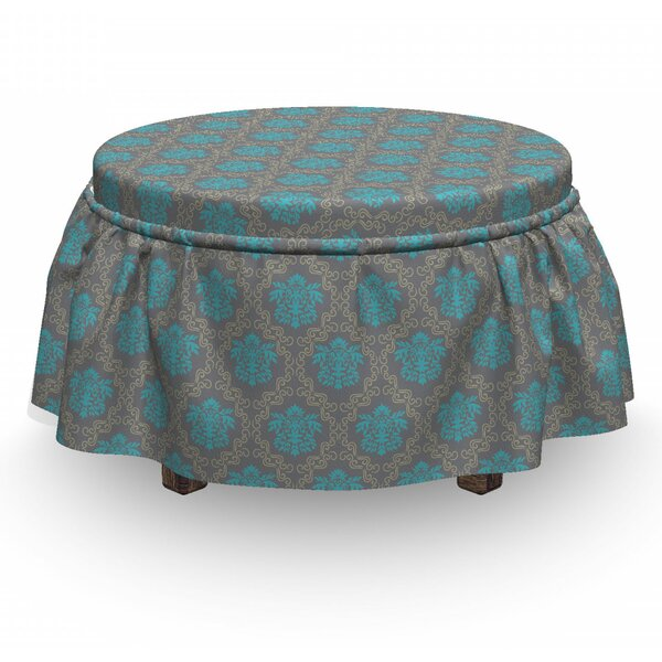 Damask Venetian Italian 2 Piece Box Cushion Ottoman Slipcover Set By East Urban Home