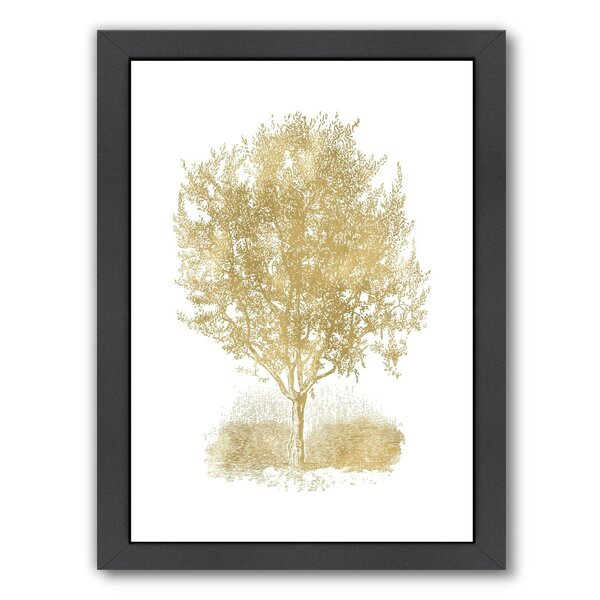 Olive Tree Gold on White Framed Graphic Art by East Urban Home