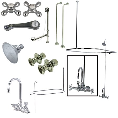 Vintage Triple Handle Wall Mount High Rise Clawfoot Tub and Shower Package by Kingston Brass