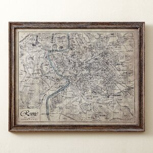 Sepia Rome Map Framed Print by Birch Lane™