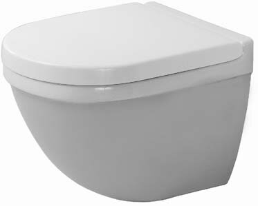 Starck 3 Dual-Flush Elongated Wall Mounted Toilet with Glazed Surface (Seat Not Included) by Duravit