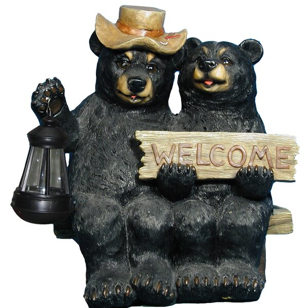 Marcelo Garden Welcome Pair Bear Lantern Figurine by Loon Peak